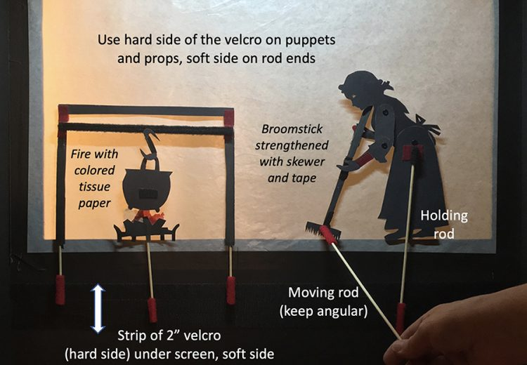 Instructions how to mount and ove shadow puppets and props