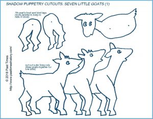 Shadow puppet template of three of the seven Little Goats