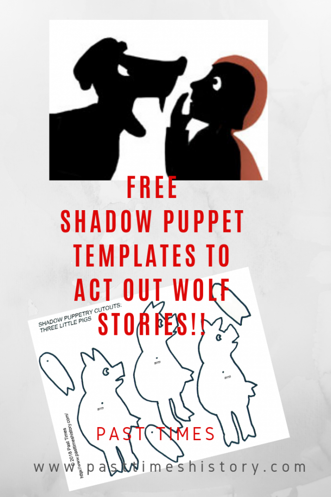 Free shadow puppet templates to act out Wolf Stories!