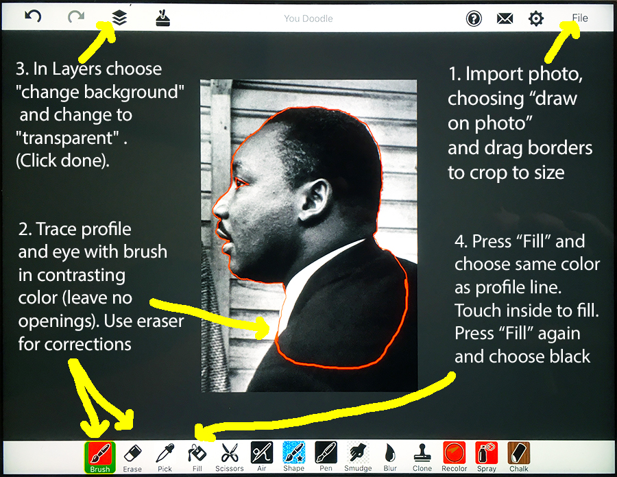 Martin Luther King's profile traced in YouDoodle with step-by-step instructions