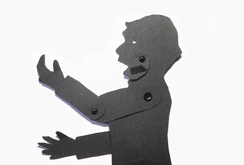 Shadow puppet of Sojourner Truth with moving jaw to make her speak