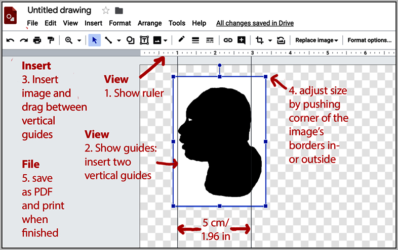 Instructions how to adjust the size of a silhouette in Google Drawings