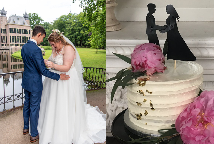 Couple on wedding day with shadow puppet look-alikes topping wedding cake