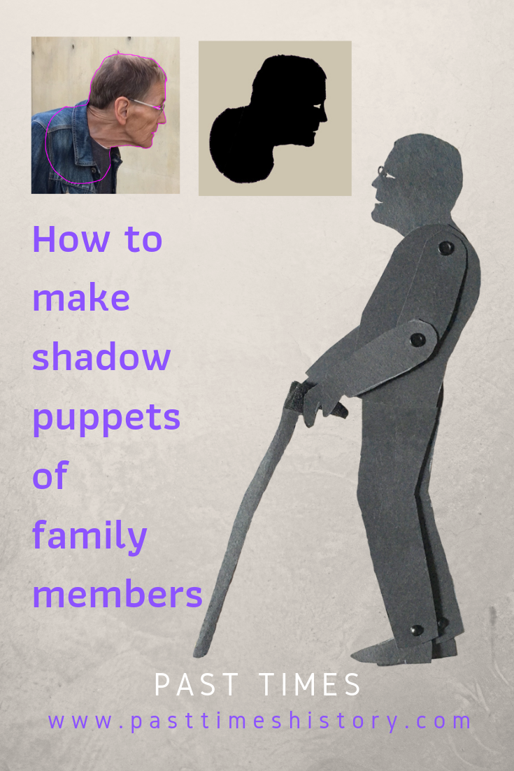 Tutorial how to make shadow puppets of family members using silhouette photos