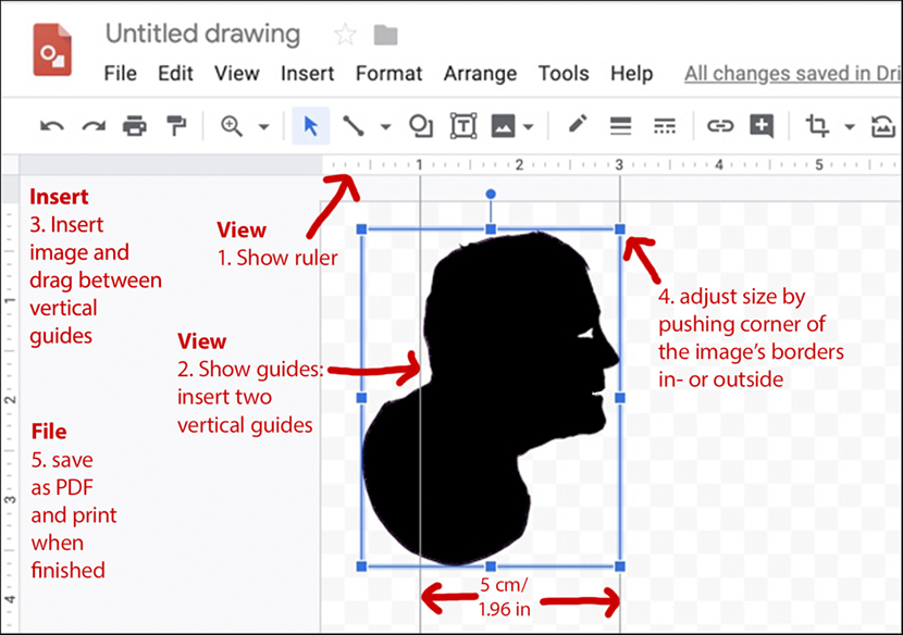 Annotated screenshot summarizing how to turn pixels into measurements using Google Drawings