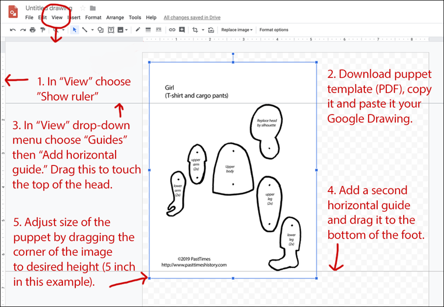 Annoted Google Drawings screenshot with puppet template and instructions