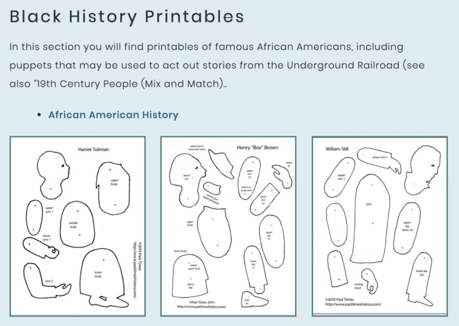 Screenshot from Pinttable Library showing cutouts for Harriet Tubman, Henry Box Brown, and William Still