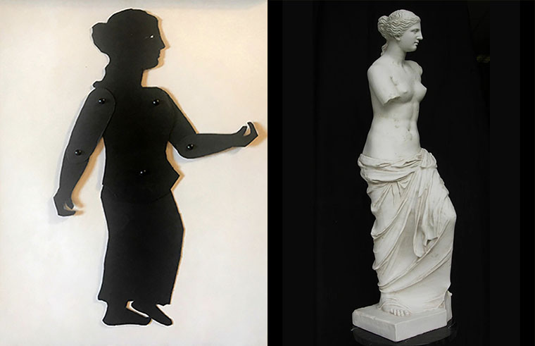 shadow puppet of Aphrodite with photo of the Venus de Milo