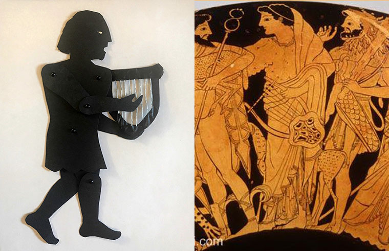 shadow puppet of the god Apollo with depiction on a Greek vase
