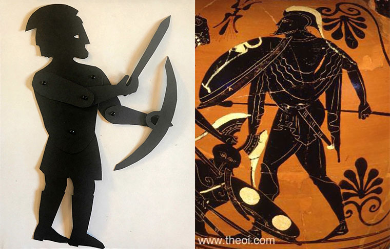 shadow puppet of the god Ares with depiction of him on a greek vase