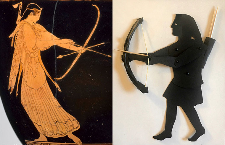 shadow puppet of the goddess Artemis with depiction on a Greek vase
