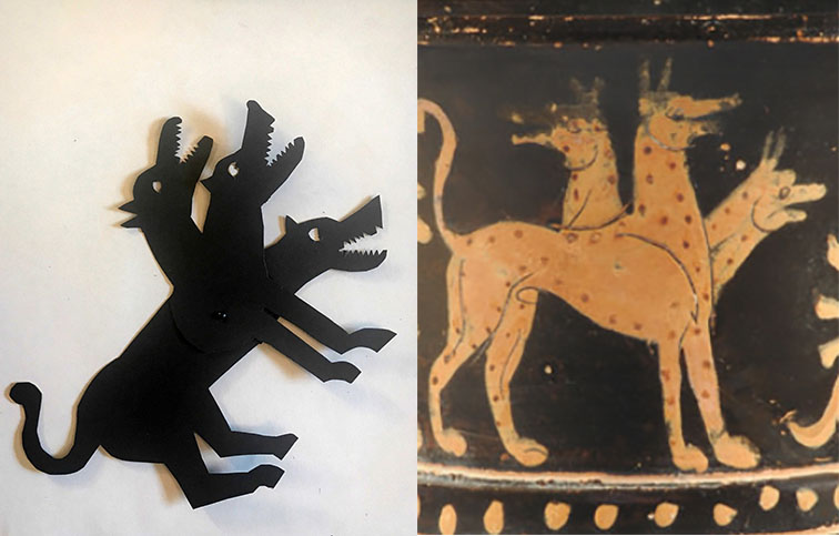 shadow puppet of Cerberus next to a depiction on a Greek vase