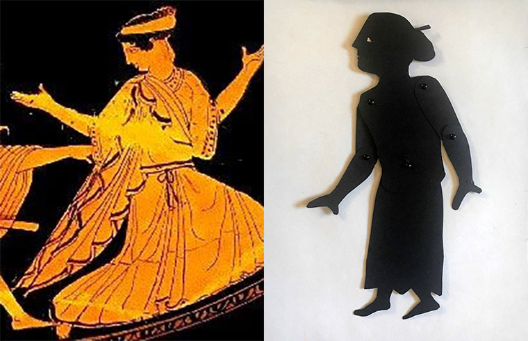 shadow puppet of the nymph daphne next to a depiction on a Greek vase