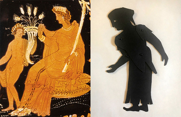shadow puppet of the goddess Demeter with a depiction on a greek vase
