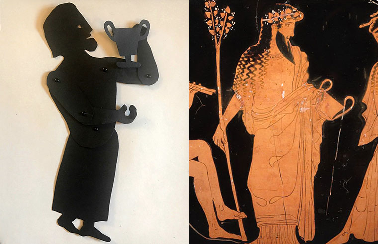 shadow puppet of the god Dionysus with a depiction on a greek vase