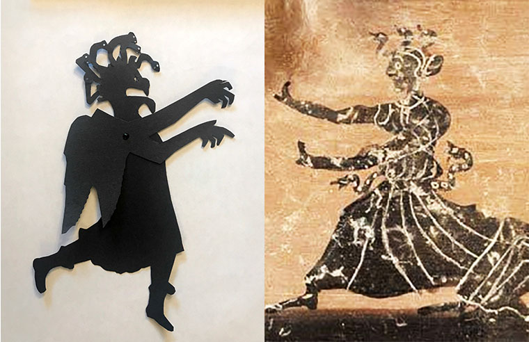 Shadow puppet of one of the gorgon sisters next to an image of a gorgon on a greek vase