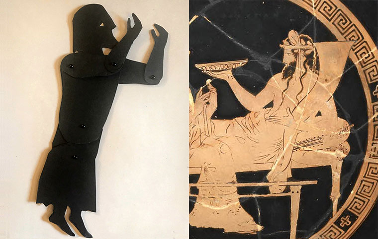 shadow puppet of the god Hades with a depiction on a Greek vase