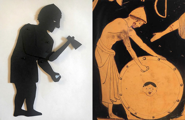 Shadow puppet of the god Hephaestus with a depiction on a greek vase