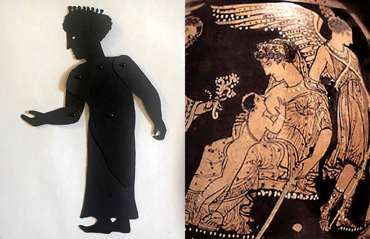 Shadow puppet off the goddess Hera with a depiction on a Greek vase