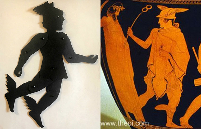 Shadow puppet of the god Hermes with a depiction on a greek vase