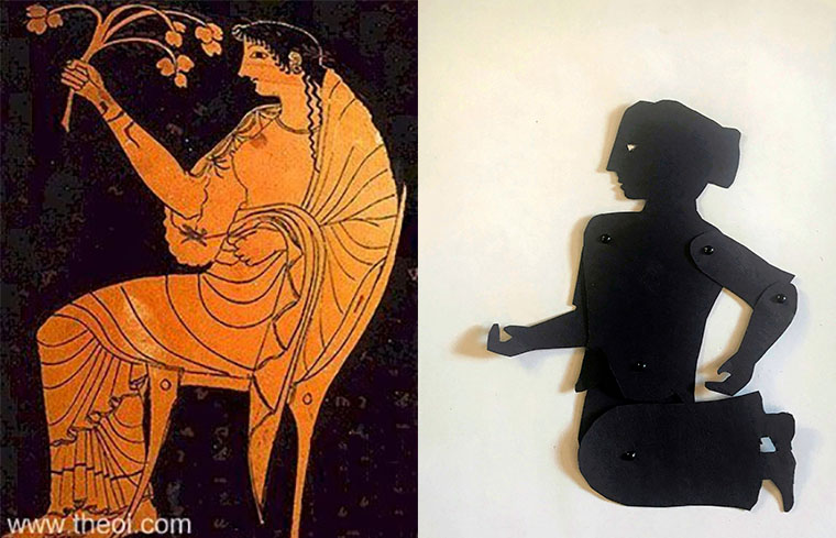Shadow puppet of the goddess Hestia with a depiction on a Greek vase