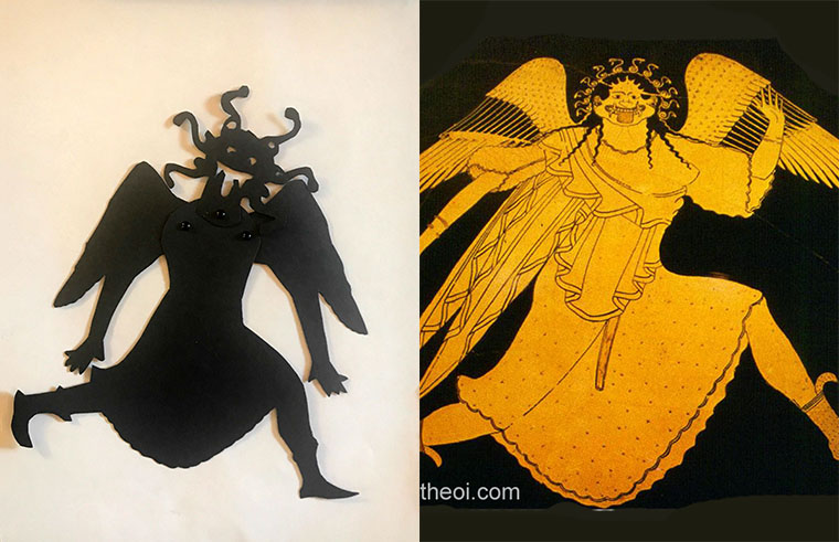 Shadow puppet of Medusa next to a depiction of her on a Greek vase