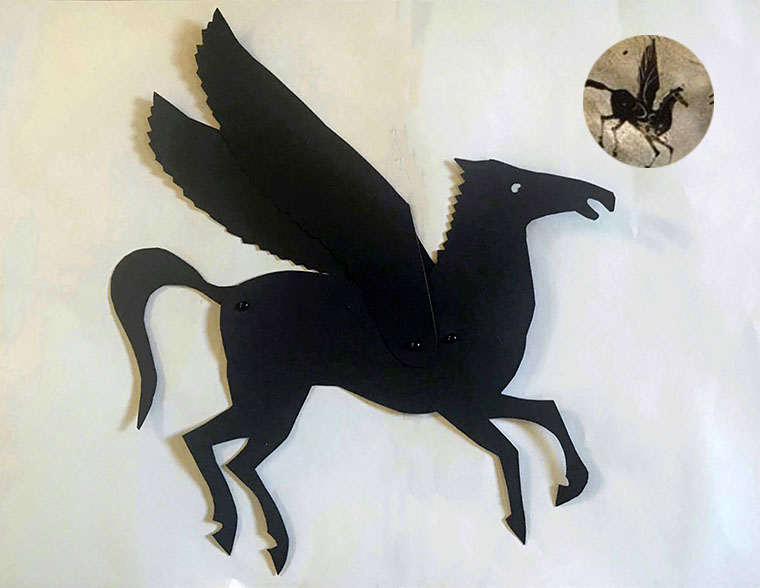 Shadow puppet of Pegasus with an image on a Greek vase