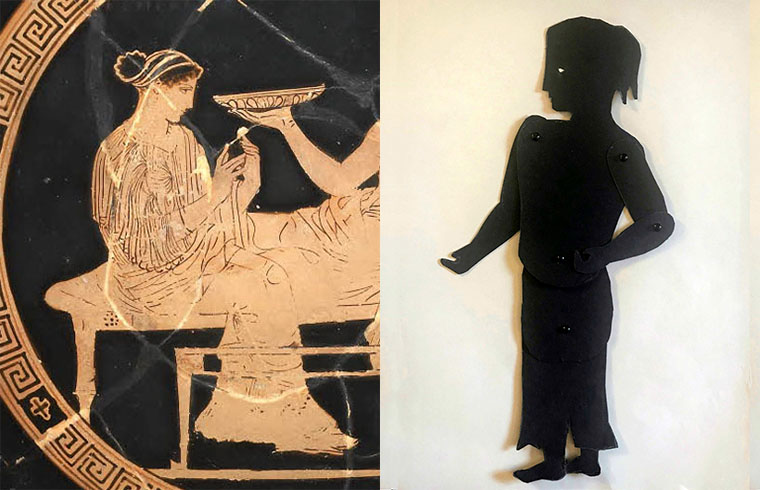 Shadow puppet of Persephone with a depiction of her on a greek vase