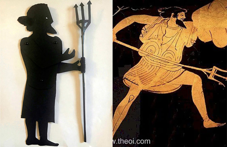 Shadow puppet of Poseidon with a depiction on a greek vase