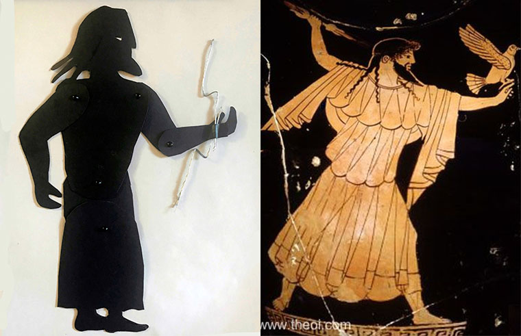 Shadow puppet of the god Zeus with a depiction of him on a greek vase