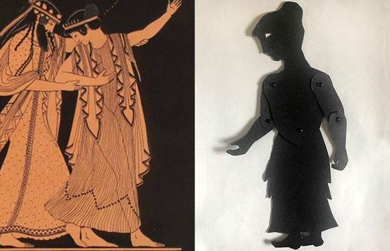 Shadow puppet of Ariadne with depiction of her and Dionysus on Greek vase