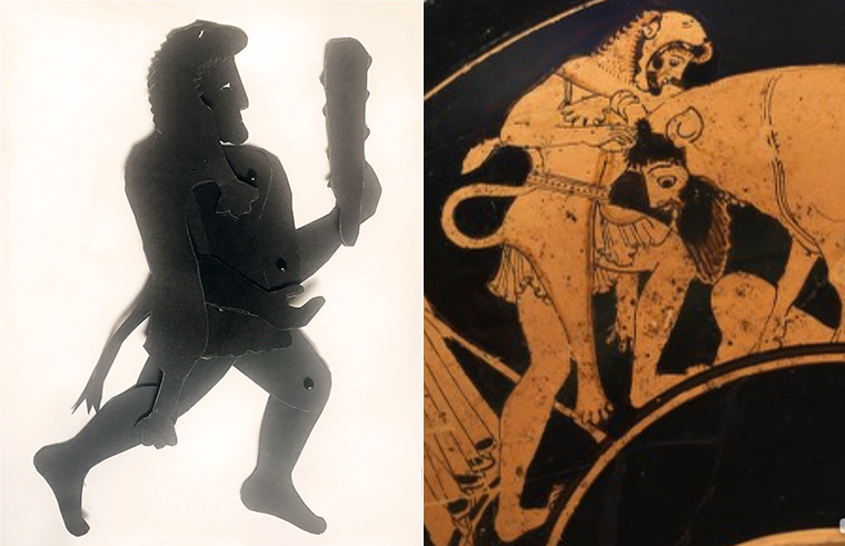 shadow puppet of Heracles with image on Greek vase