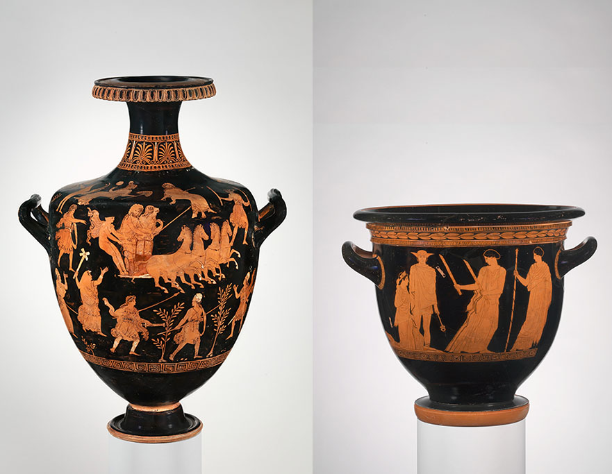 red figure hydria and bell krater with scenes from the Persephone myth
