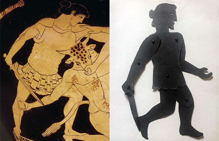 Shadow puppet of Theseus with depiction of him fighting minotaur on Greek vase