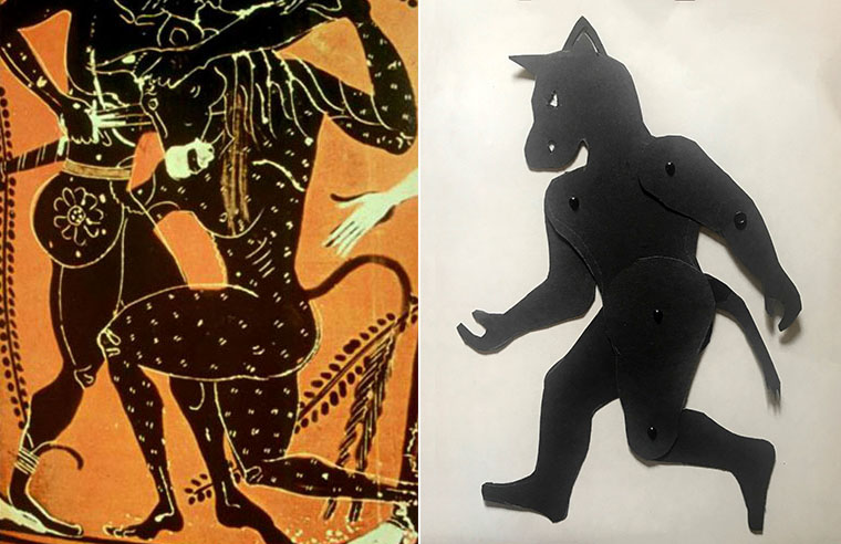 Shadow puppet of Minotaur with depiction on Greek vase