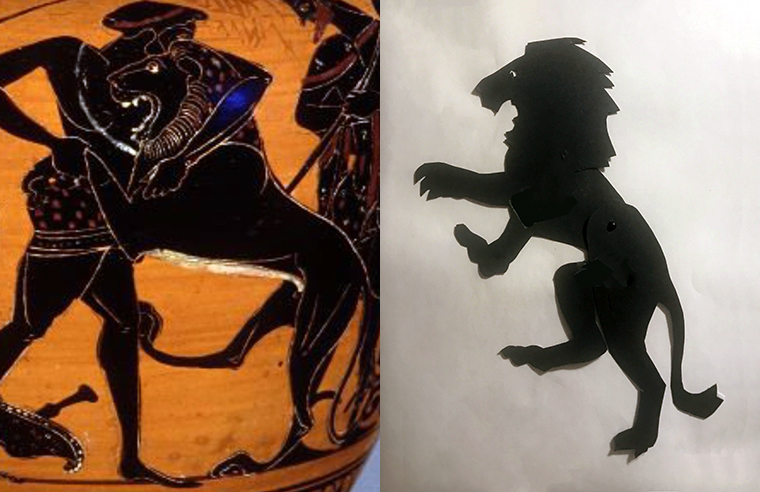 shadow puppet of the Nemean lion and a depiction on a Greek vase;