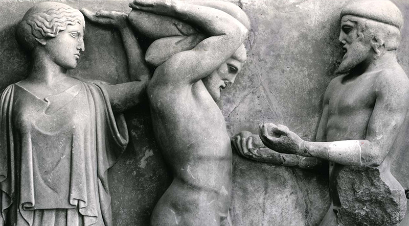 Detail from a marble relief showing Heracles holding world above his head and Atlas holding the apples