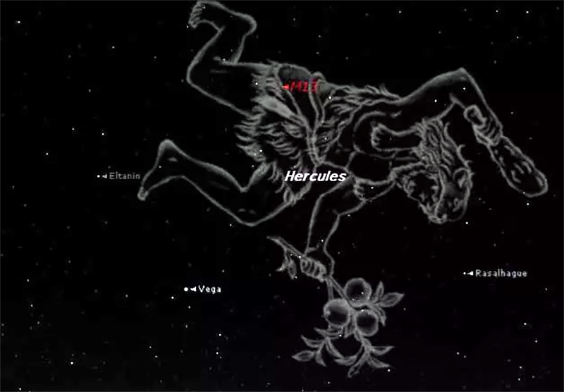 Constellation of Heracles with image of thehero