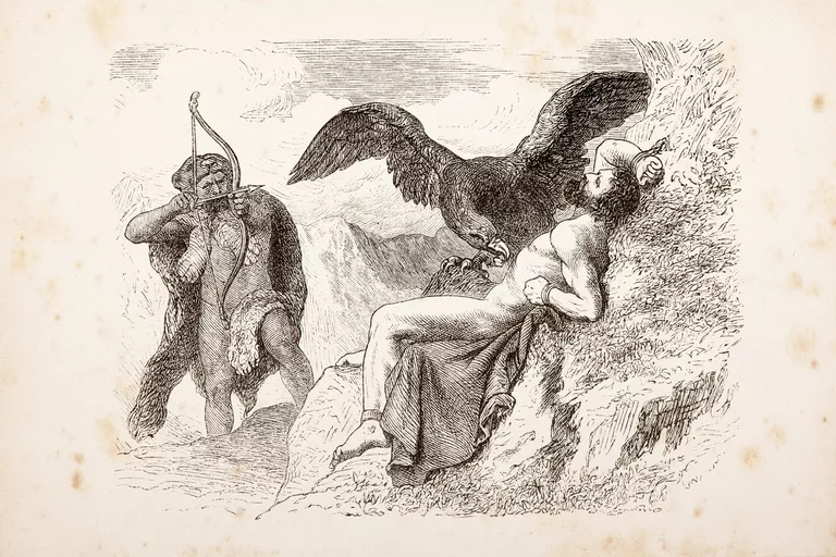 Hercules with bow and arrow shooting eagle picking Prometheus' liver