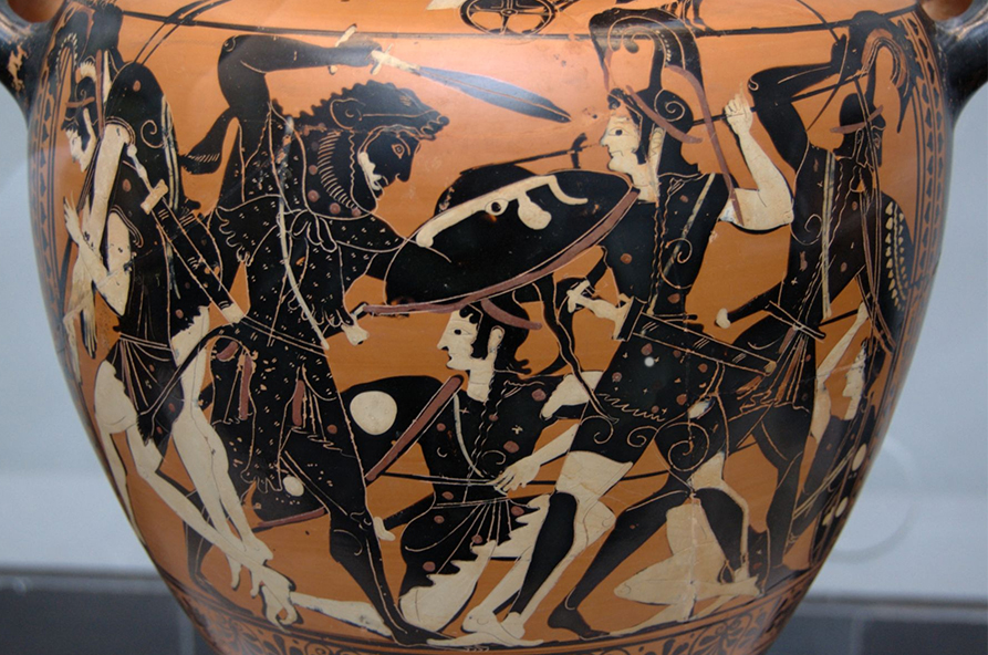 Heracles and warriors fighting the Amazons on Greek vase
