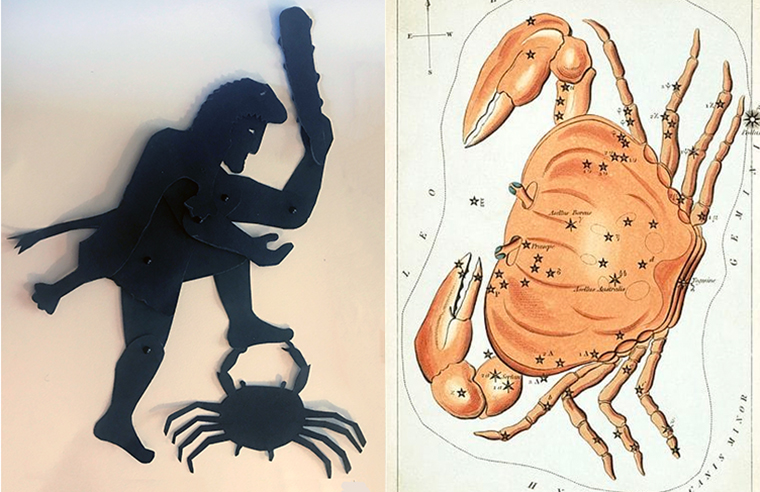 Shadow puppets of Heracles and crab with map of constellation of cancer
