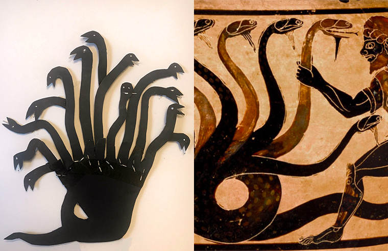 shadow puppet of a hydra and depiction on vase