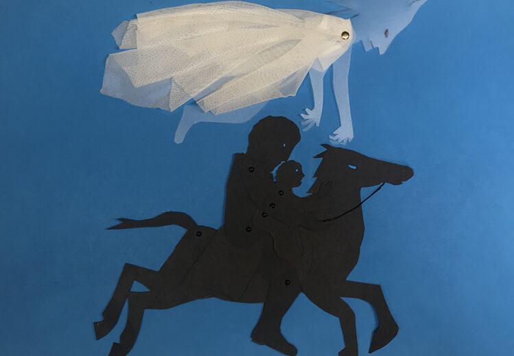 silhouette of rider with child on galloping horse with ghostlike fairy king above them stretching out his arms to the child