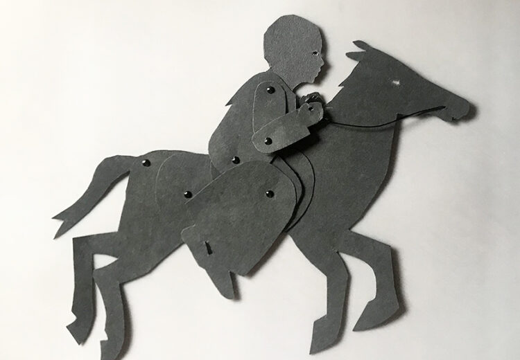 Puppet of Harriet Tubman sitting on a galloping hors