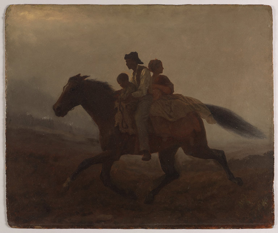 Horse carring a man holding a young boy and a woman holding a baby