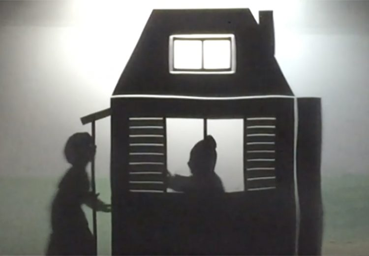 Shadow puppet of Harriet Tubman knocks the door of a safe house